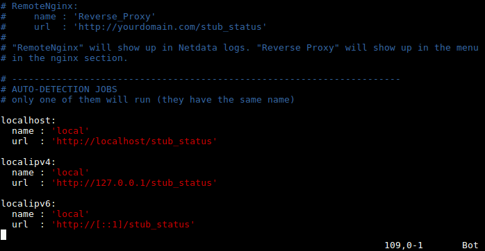 Netdata Nginx Configuration