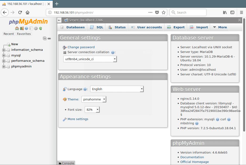 PhpMyAdmin MySQL Database Administration