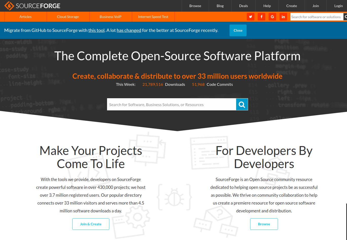 SourceForge GitHub Alternative