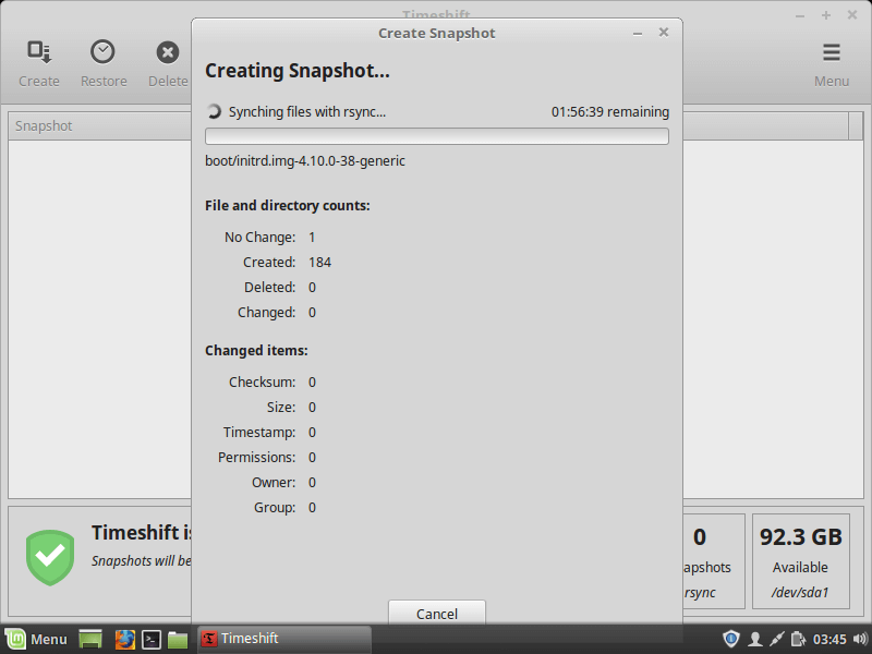 Creating Linux Mint Snapshot