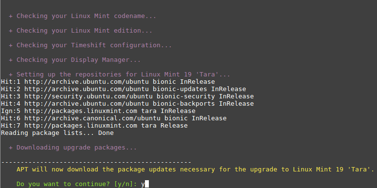 Download Mint Upgrade Packages