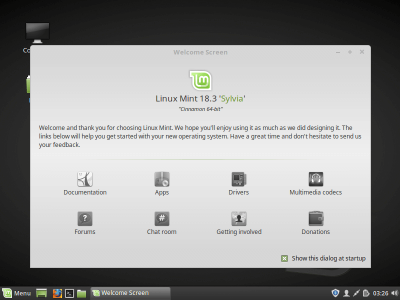 Linux Mint 18.3 Running