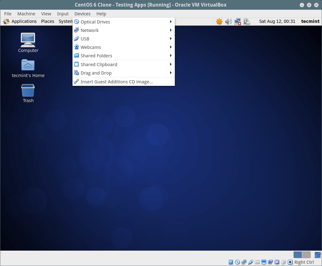 Install VirtualBox Guest Additions in CentOS, RHEL & Fedora