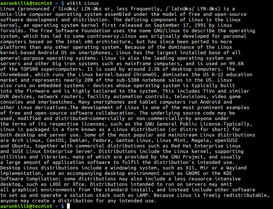Wikipedia Command Line View
