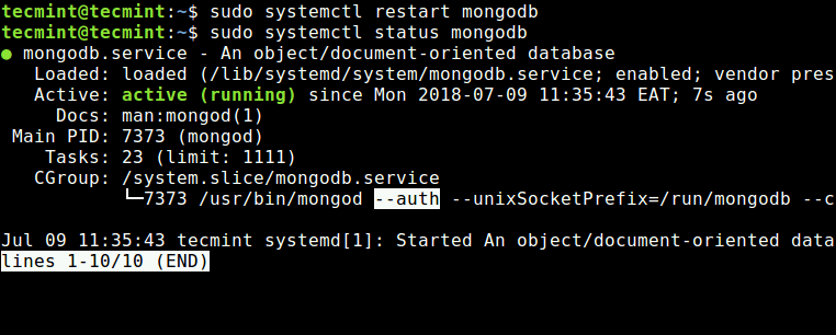 Verify MongoDB Authentication