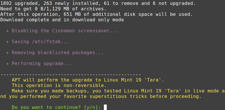 Upgrading to Linux Mint 19