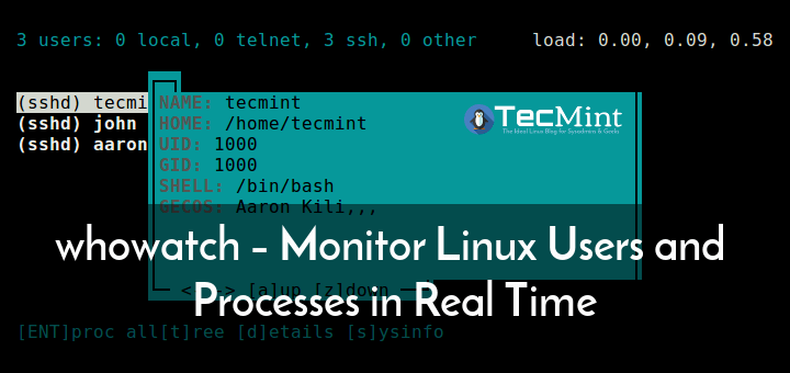 whowatch – Monitor Linux Users and Processes