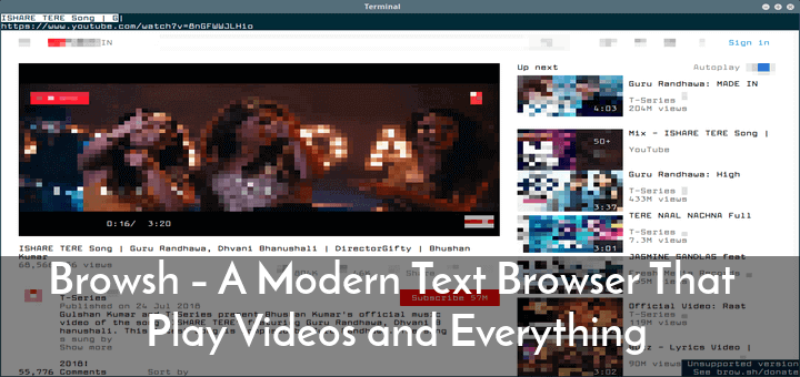 Browsh - A Modern Text Browser That Play Videos and
