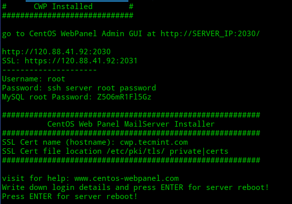CentOS Web Panel Installation Summary