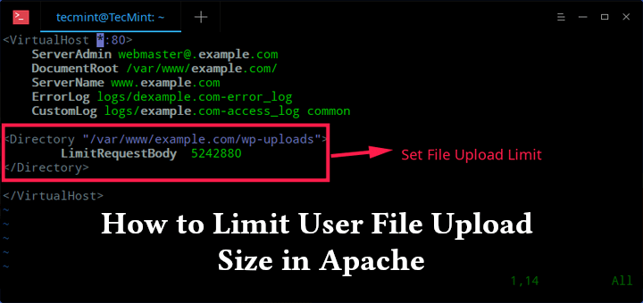 How to Limit User File Upload Size in Apache