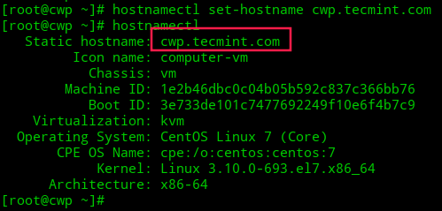 Set Hostname in CentOS 7
