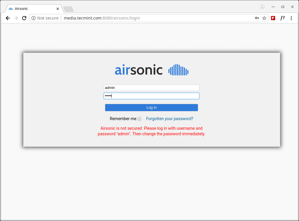 Airsonic Login