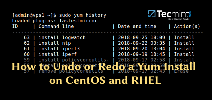 Undo or Redo Yum Install in CentOS
