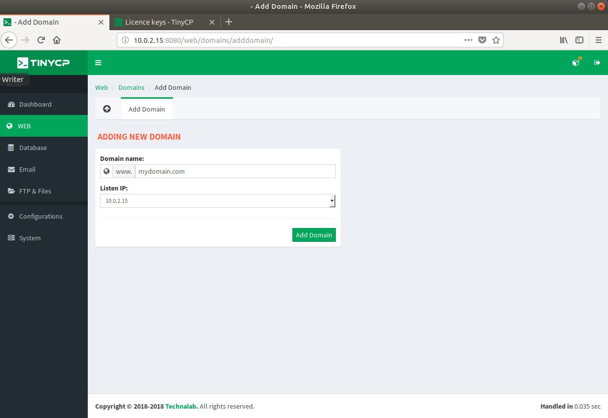 Neue Domain erstellen