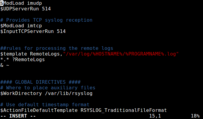 Define Ruleset for Rsyslog-Logging