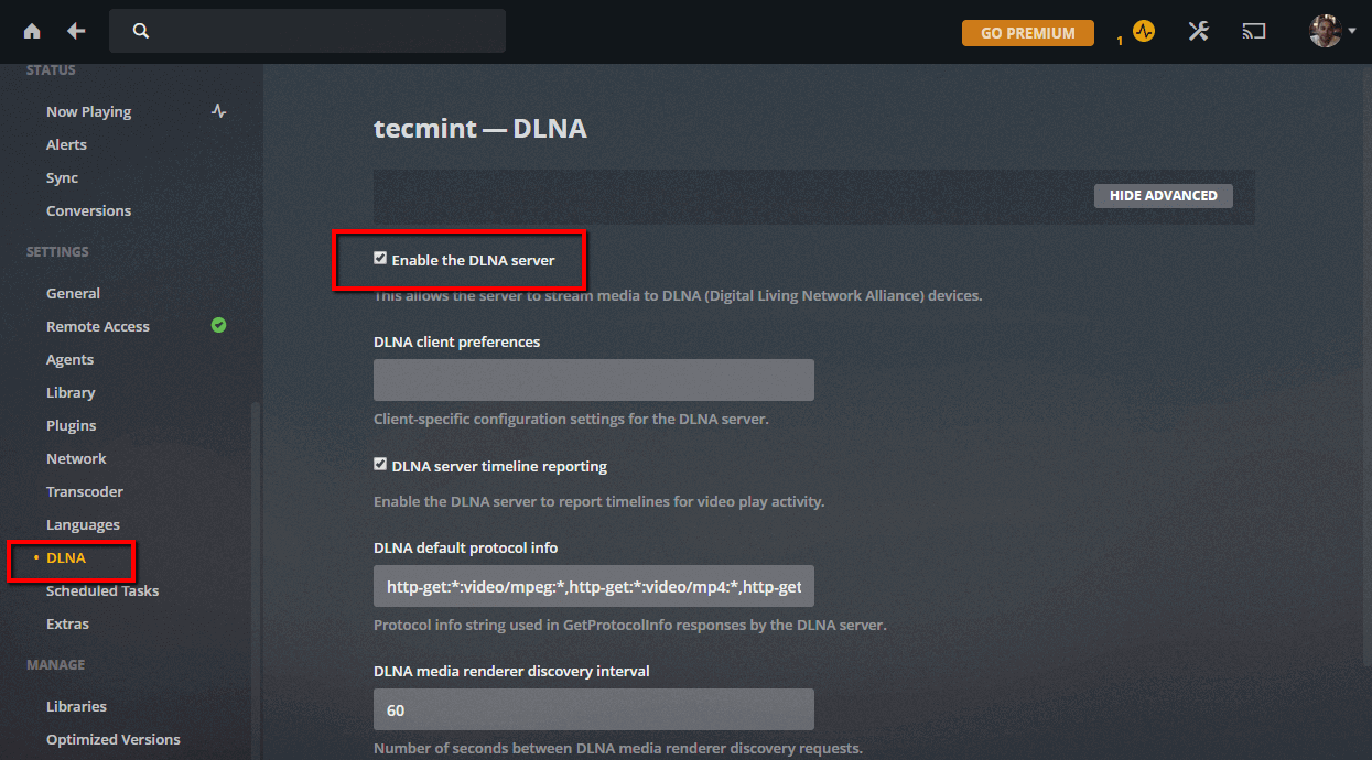 Enable Plex DLNA