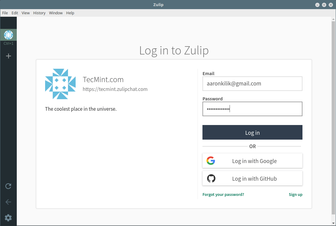 Login into Zulip Organization