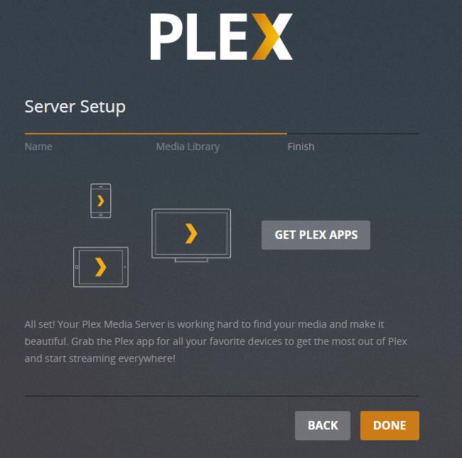 Plex Media Server Setup Completes