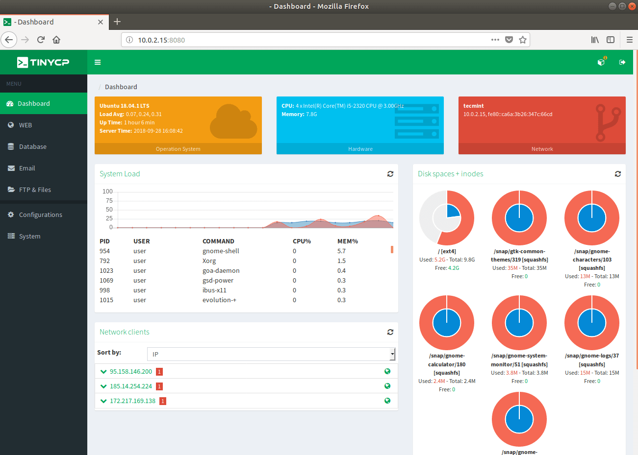 TinyCP - A Lightweight Control Panel for Managing Linux Systems