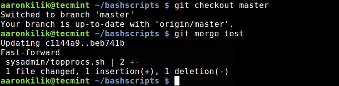 merge one branch into another git