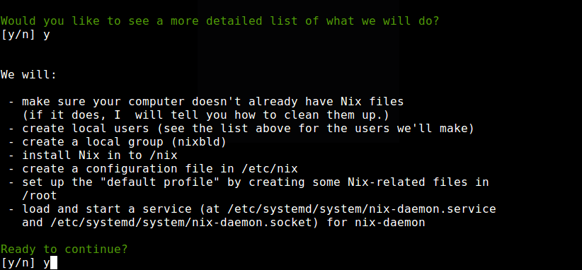 Nix Installation Summary