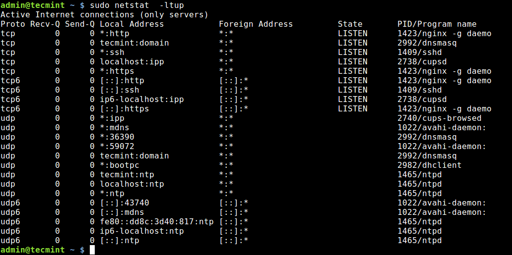 Check Open Ports Using Netstat Command