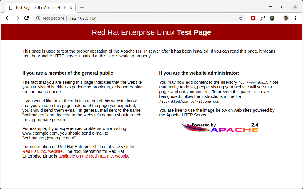 Verify Apache on RHEL 8