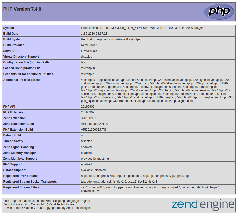 Check PHP Info in CentOS