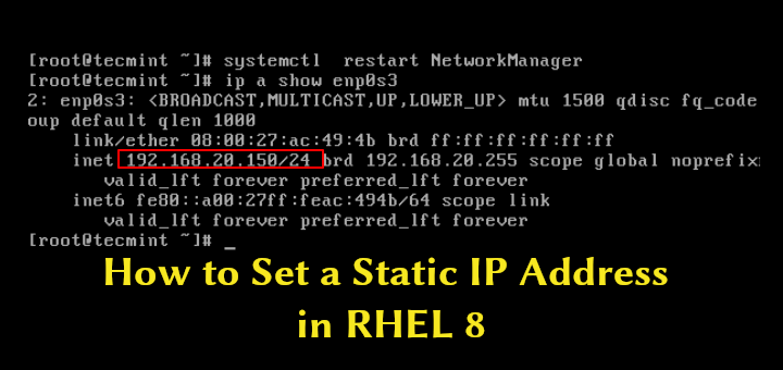 Configure IP Address on RHEL 8