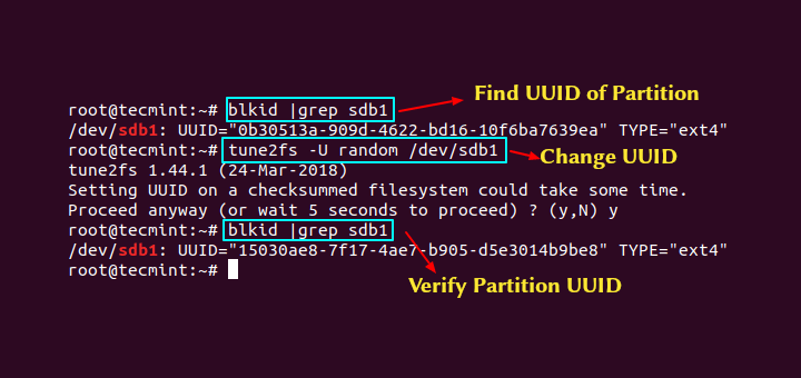 Change UUID in CentOS and Ubuntu
