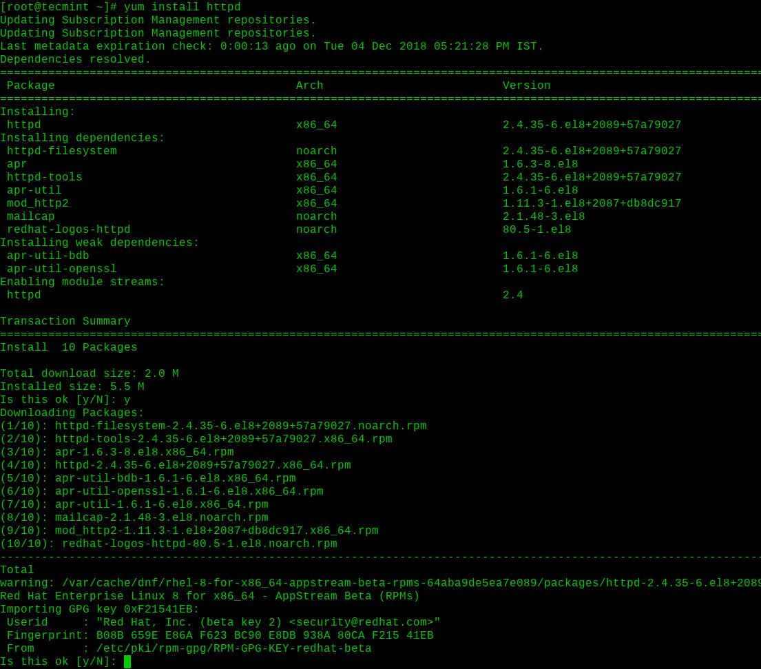 Install Apache on RHEL 8