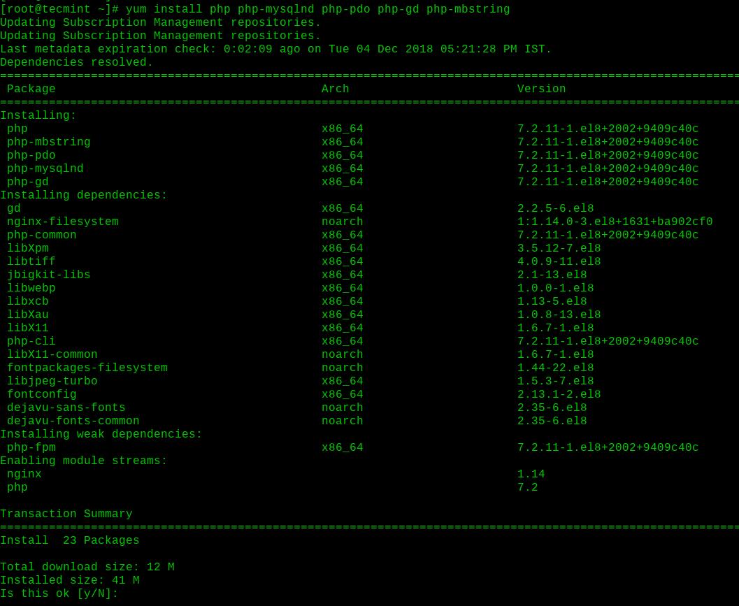 Install PHP on RHEL 8