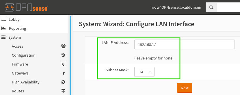 OpnSense Configure LAN Interface