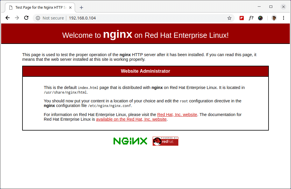 Verify Nginx on RHEL 8