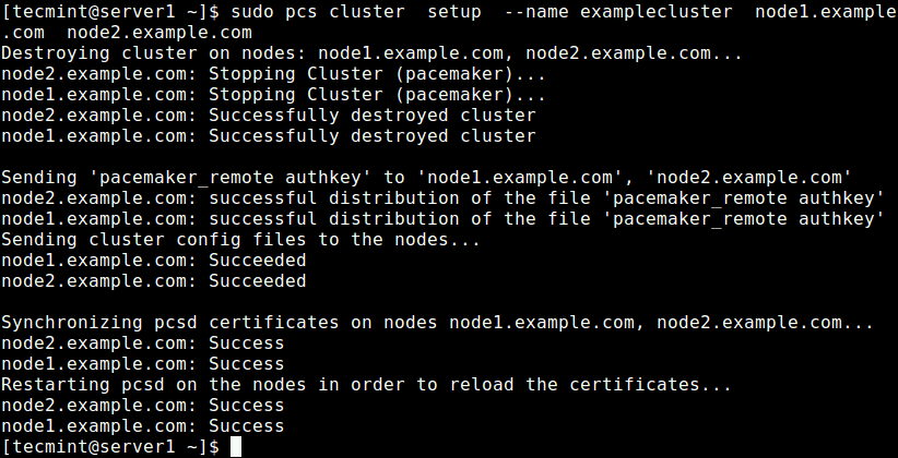 Create Cluster on Node1