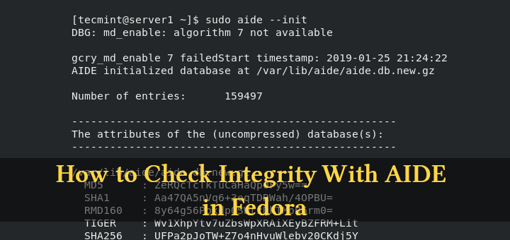 Check Integrity With AIDE in Fedora