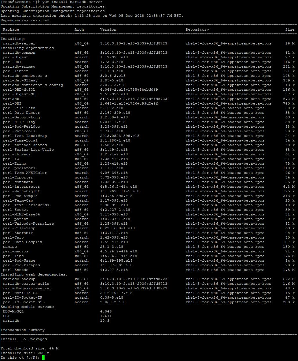 Installing MariaDB in RHEL 8