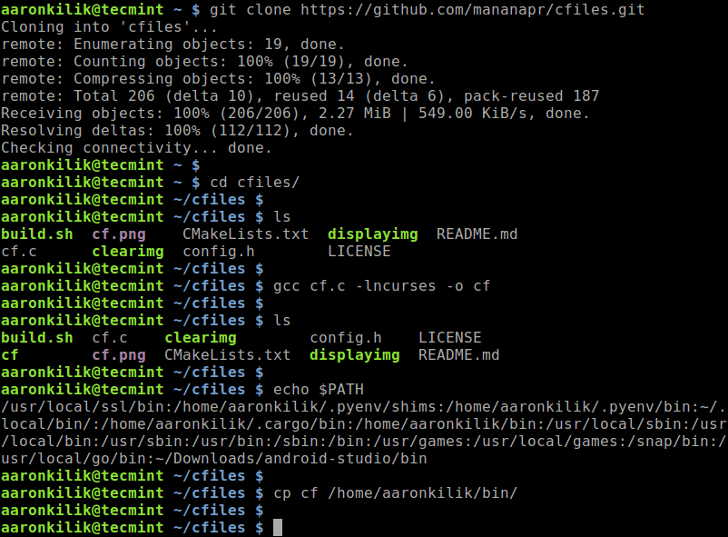 cfiles - A Fast Terminal File Manager with Vim Keybindings