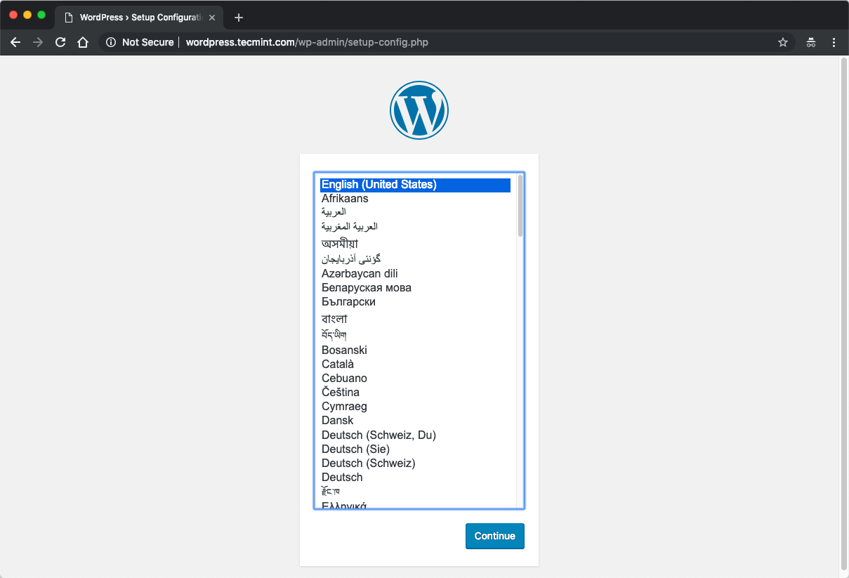 Select WordPress Install Language