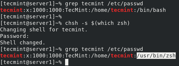 Set Zsh Default Shell in Fedora