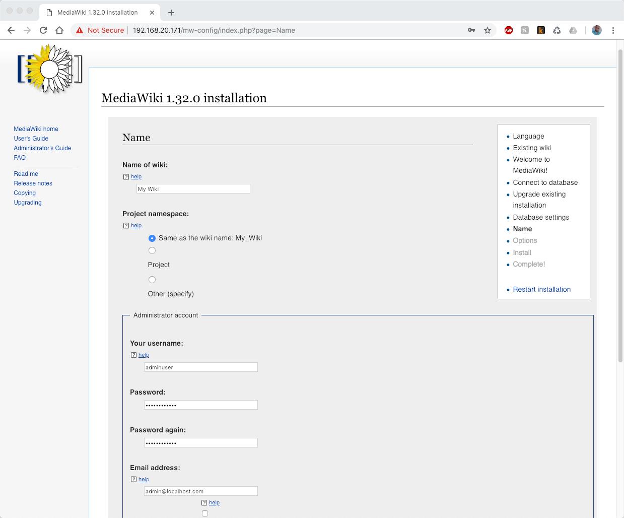 Setup MediaWiki Admin Account