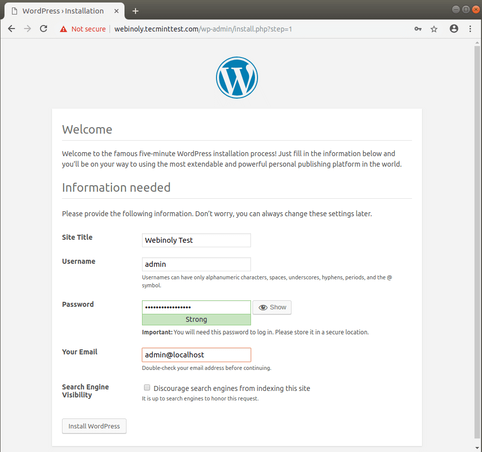 Setup WordPress Website
