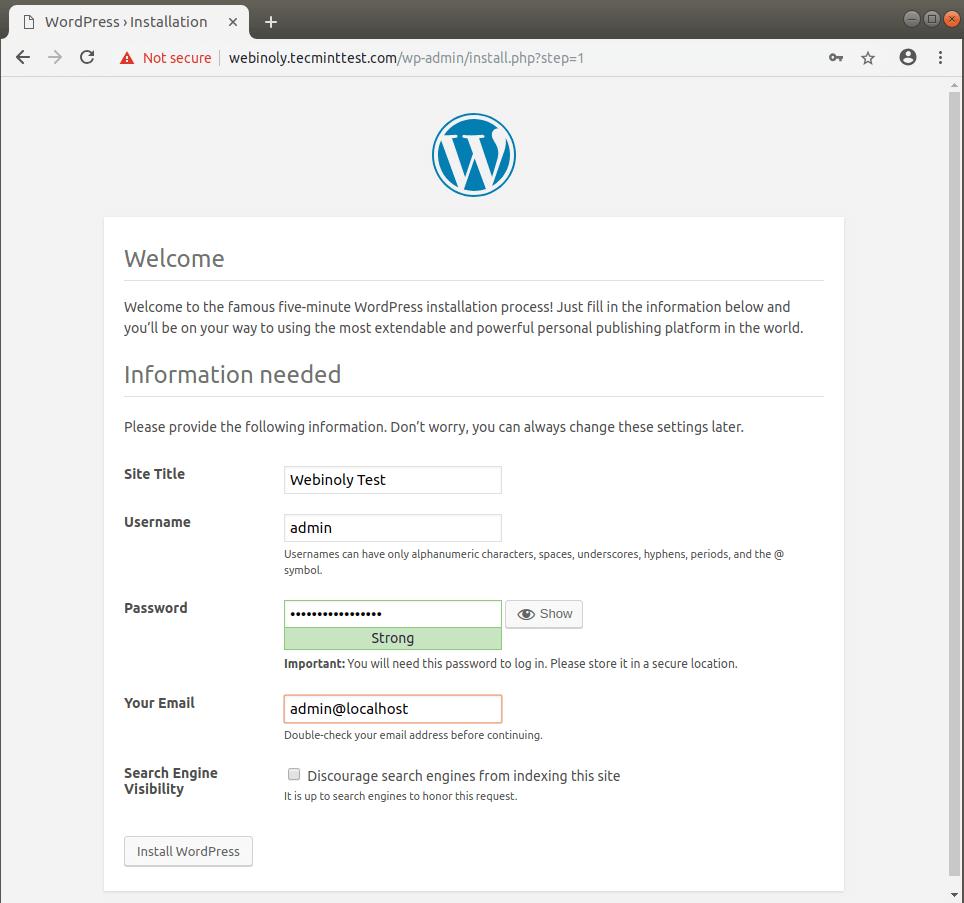Setup WordPress Website