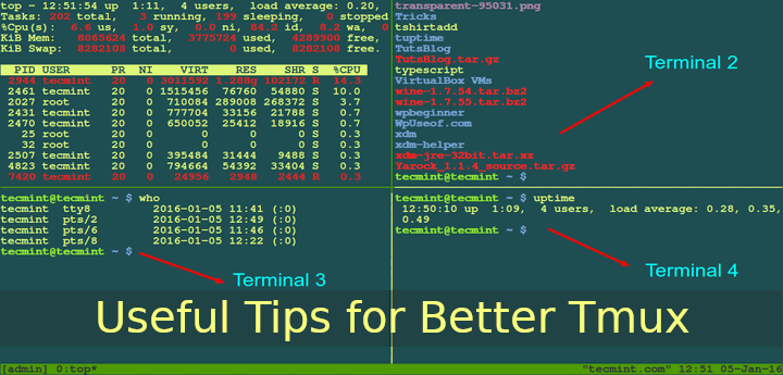 Tips for Better Tmux Terminal Sessions