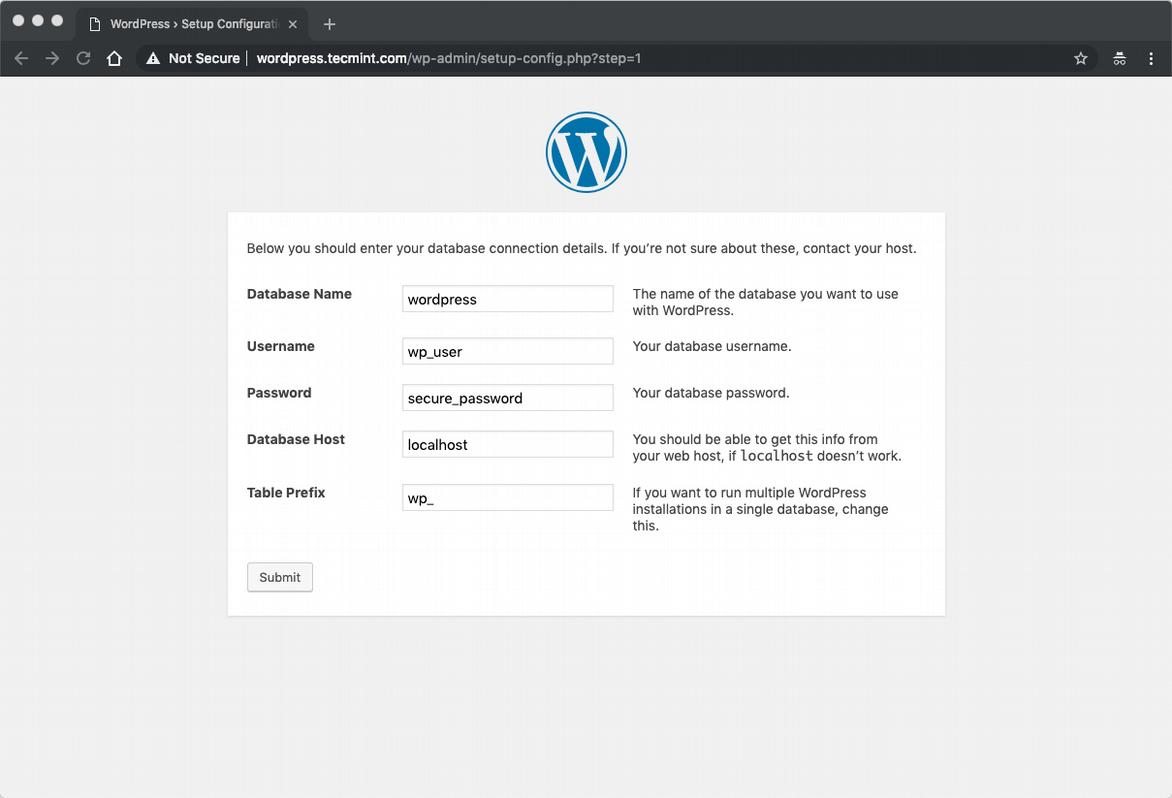 WordPress Database Settings