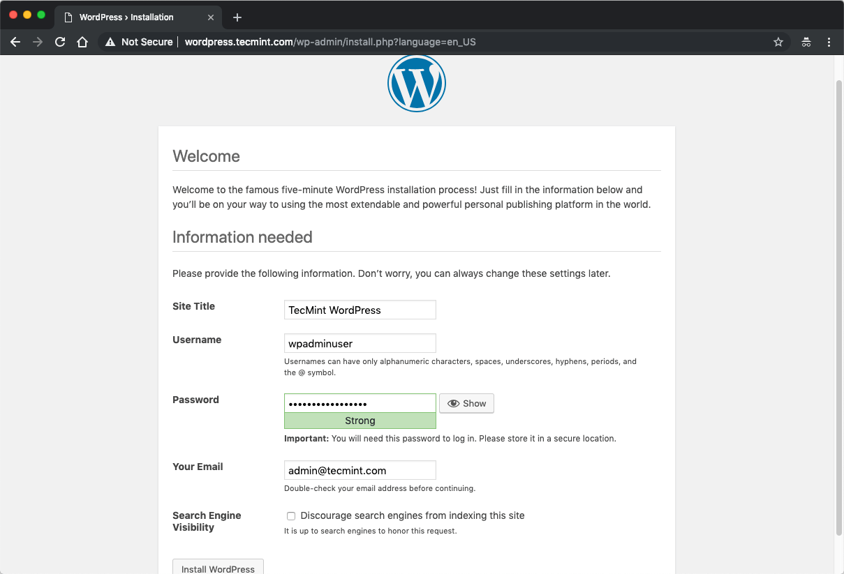 Install WordPress with Nginx, MariaDB 10 and PHP 7 on Ubuntu