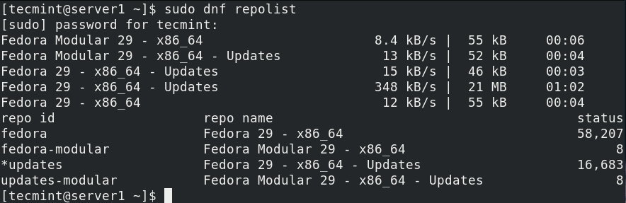 List Enabled Repositories in Fedora
