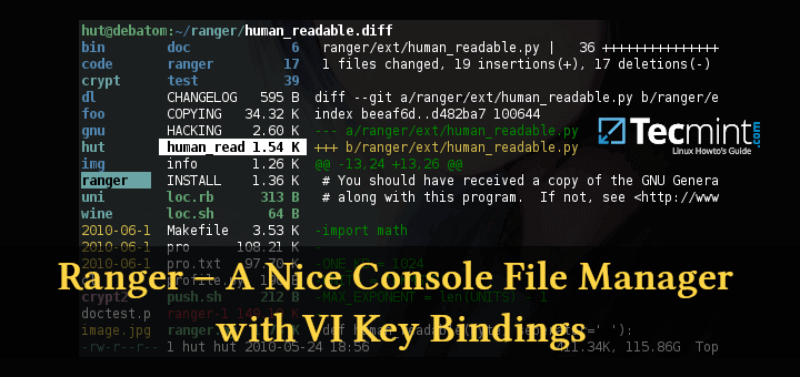 Ranger - Console File Manager with VIM Key Bindings