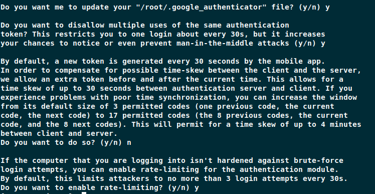 Finish Google Authenticator-Setup
