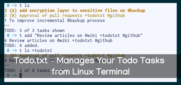 Todo.txt - Manage Todo Tasks in Linux Terminal